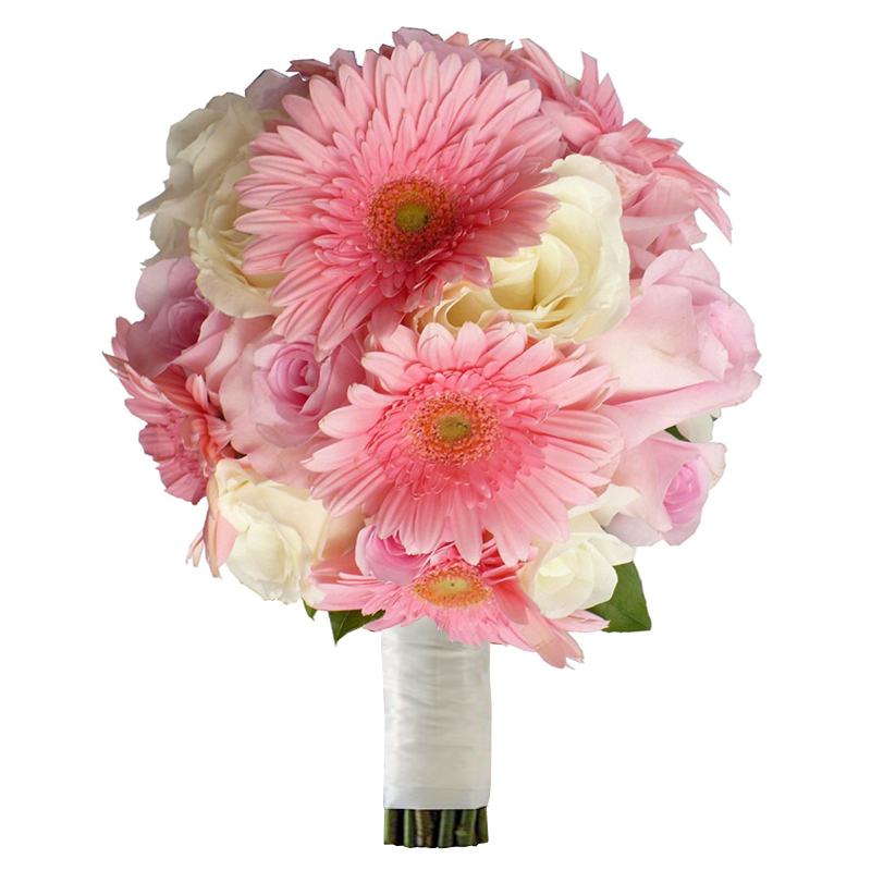 Букет невесты из гербер, роз и рускуса