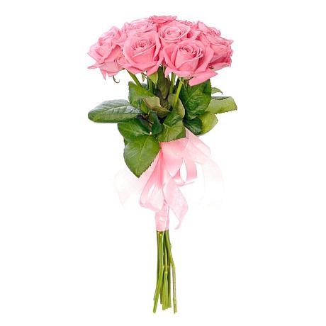Букет из 7 розовых роз под ленту